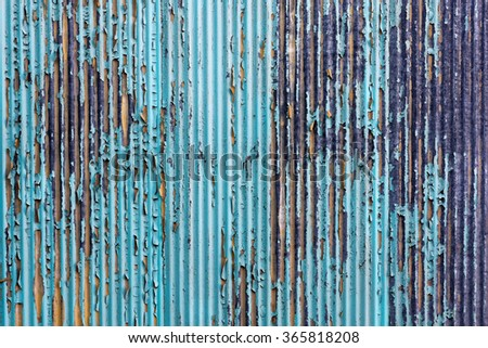 old roof iron which the surface is flaking and damaged - stock photo