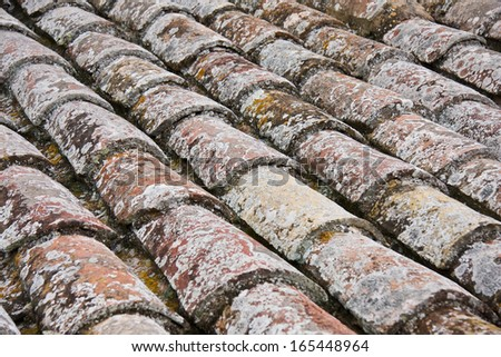 Old roof tile background, close up