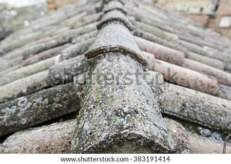 Old Roof Tiles, detail of some old roof tiles, clay - stock photo