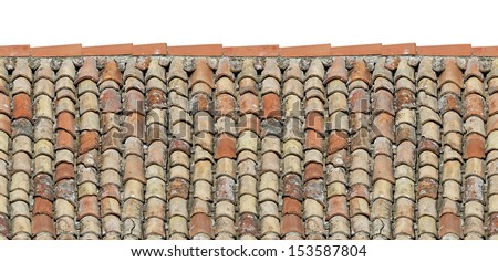 Old roof tiles on the roof of an old house as seamless pattern - stock photo