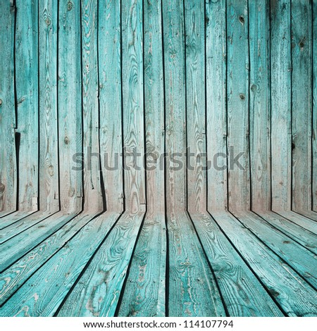 old room, blue wooden wall - stock photo