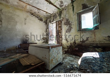 old room destroyed with fridge fall down in Alianello, Italy