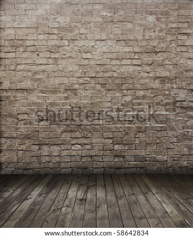 old room with brick wall - stock photo