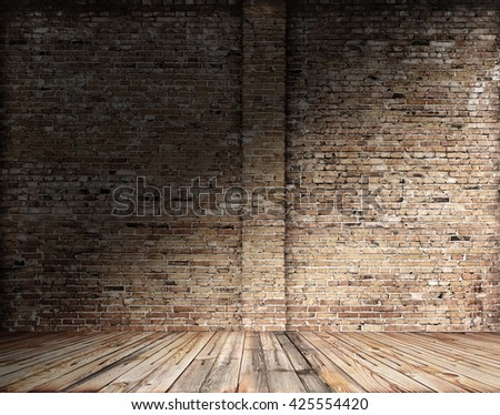 old room with brick wall, grungy background - stock photo