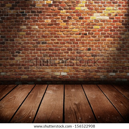 old room with brick wall . Ready for product montage display.  - stock photo