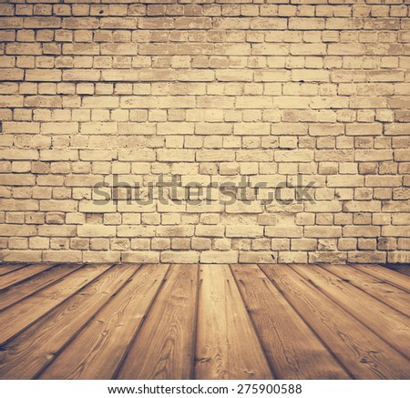 old room with brick wall, retro filtered, instagram style - stock photo