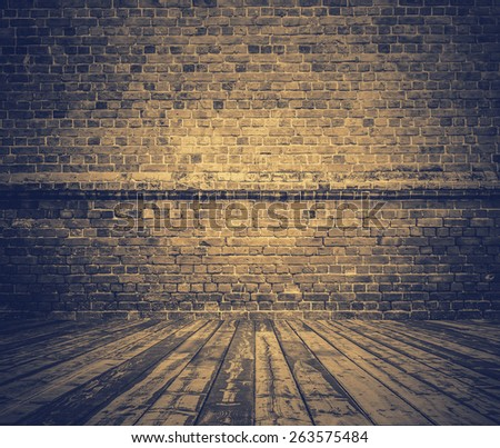 old room with brick wall, vintage background, retro filtered, instagram style - stock photo