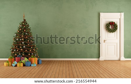 Old room with christmas tree,present and closed door - rendering - stock photo