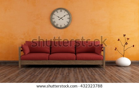 Old room with wooden couch against orange wall - 3d rendering