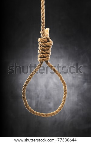 Old rope with hangman's noose. - stock photo