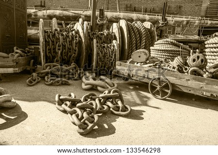 Old ropes and chains in the dock yard of Brunel's historic SS Great Britain at Bristol - stock photo