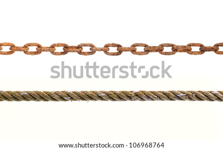 old ropes and chains on white background. - stock photo