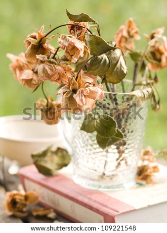 Old roses in glass vase, selective focus - stock photo