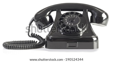 Old Rotary Phone Isolated on White Background - stock photo