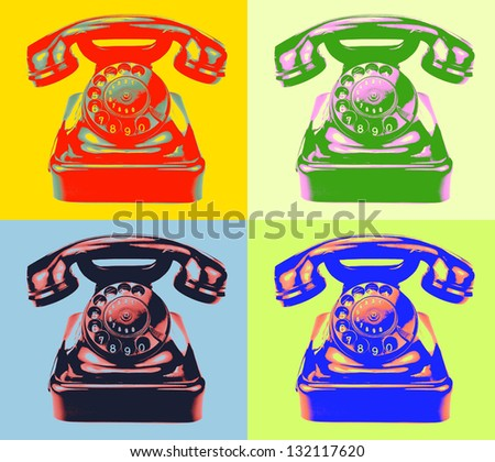 Old rotary phone. Pop art style image. - stock photo