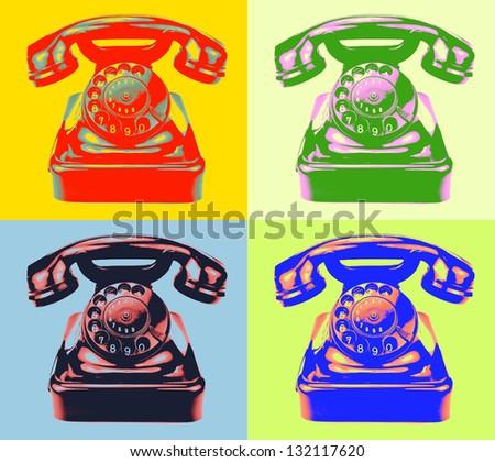 Old rotary phone. Pop art style image. - stock photo