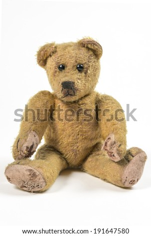 Old rotten straw Teddy bear Nostalgic and lonesome Teddy bear   - stock photo