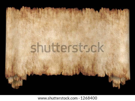 Old rough antique horizontal manuscript roll of parchment paper texture background isolated on black - stock photo