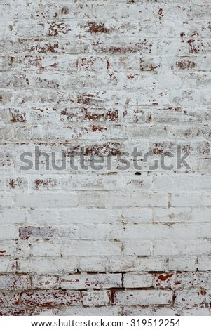 Old Rough Red Brick Wall With Whitewash Vertical Background Texture - stock photo