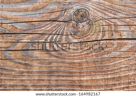 Old, rough textured, marked by intensive radial annual growth lines pattern, knotted, weathered, cracked, plank - knot detail.