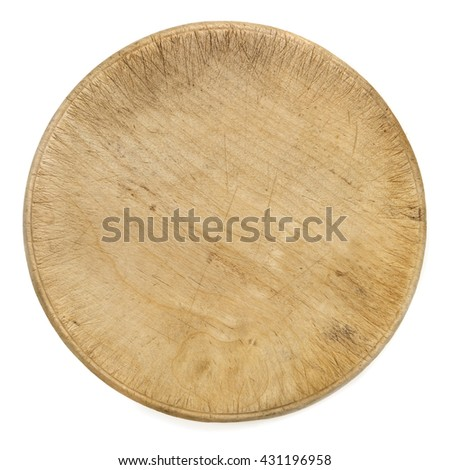Old round wooden cutting chopping board isolated on white.  Top view.
