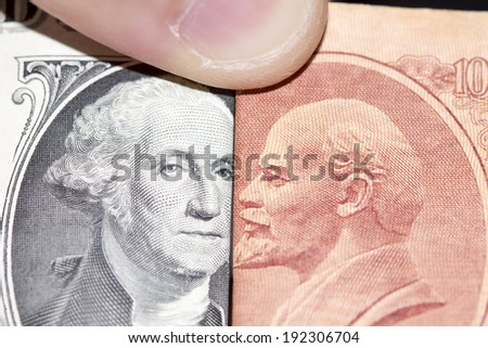 old ruble and the dollar - stock photo