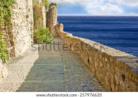 Old ruin medieval wall and stone path beside ocean,a montage image - stock photo