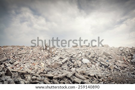Old ruined abandoned buildings - stock photo