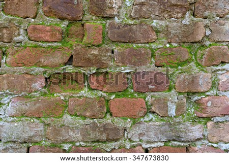 Old ruined and stained grungy brick wall texture - stock photo