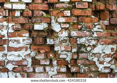Old ruined brick walls - stock photo