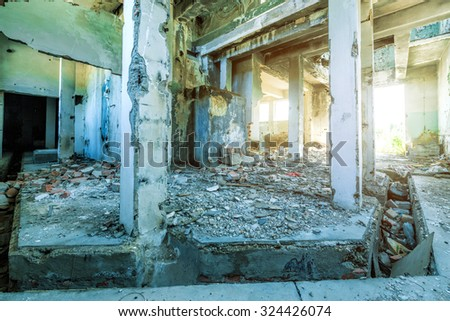 Old ruined building interior - stock photo