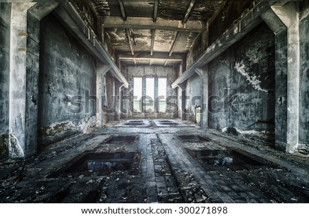 Old ruined factory building from the inside, awesome background - stock photo