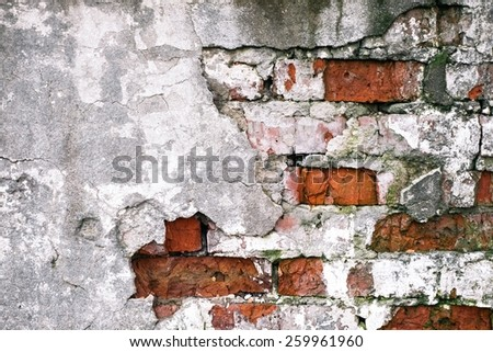 Old Ruined Wall - Abstract Background  - stock photo