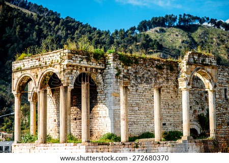 Old ruins in Berat city, Albania. World Heritage Site by UNESCO - stock photo