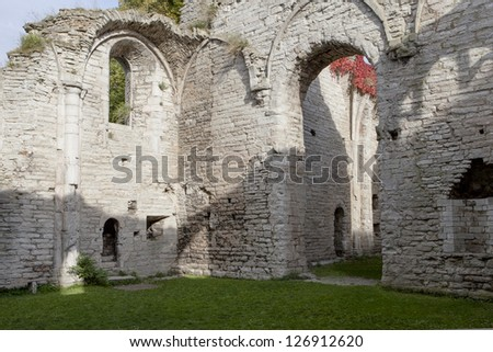 Old ruins in Gotland, Visby, Sweden - stock photo
