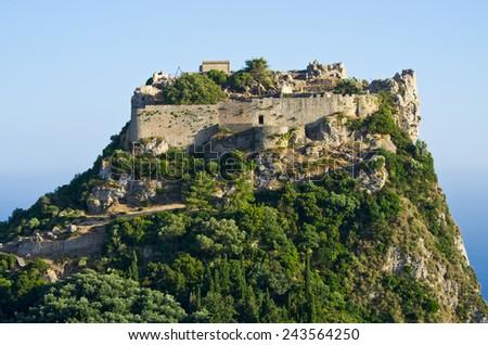 Old ruins of Angelokastro fortress - Corfu island, Greece - stock photo