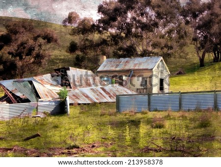 Old ruins of Australian homestead in country setting with grunge textured filter - stock photo