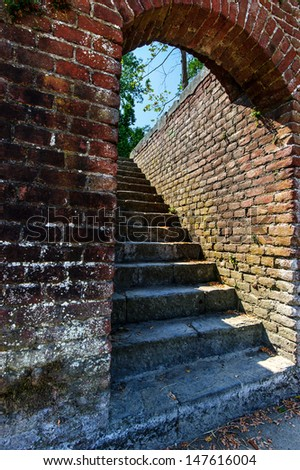 old ruins of  rustic stairs building in Italy - stock photo