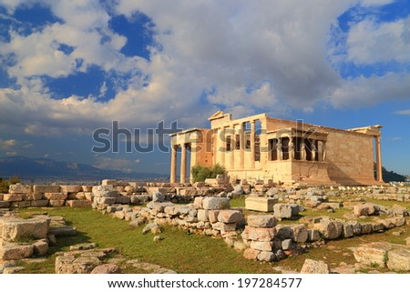 Old ruins of the Erechtheion temple on the Athens Acropolis, Greece