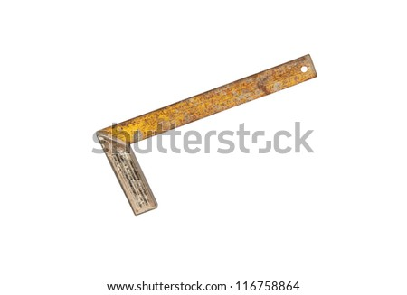 Old ruler with angle bar, set square, isolated on a white background with clipping path - stock photo