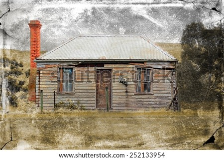 Old rundown country house with a retro grungy texture applied - stock photo