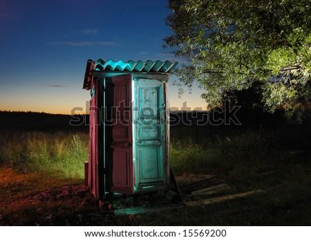Old rural toilet - stock photo