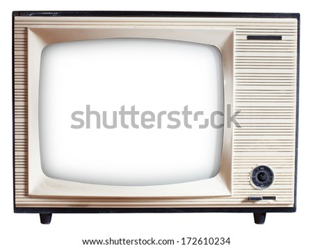 Old Russian black and white TV set isolated on white with clipping paths - stock photo
