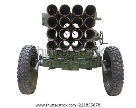 Old russian mobile rocket launcher isolated over white background - stock photo
