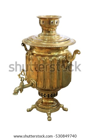 Old Russian samovar on white background, isolated.