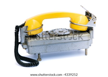 old russian telephone isolated on white - stock photo