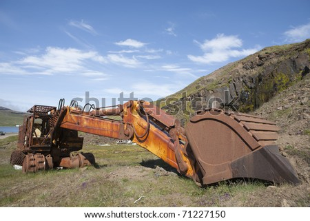 Old Rust Machine in Iceland - stock photo