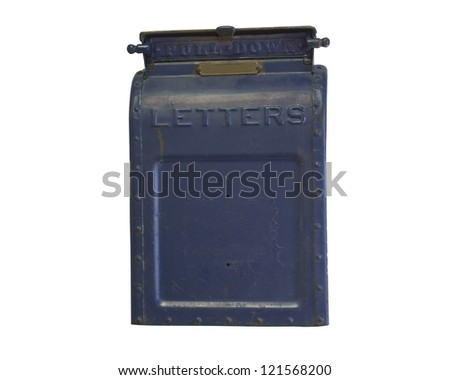 Old Rusted Blue Mail Box Isolated on white - stock photo