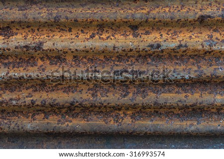 Old rusted corrugated zinc sheet roof background,horizontal - stock photo