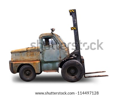 Old rusted Forklift Truck. Photo isolated on white background - stock photo